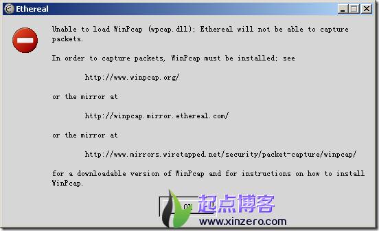 解决ethereal运行无法加载wpcap.dll问题