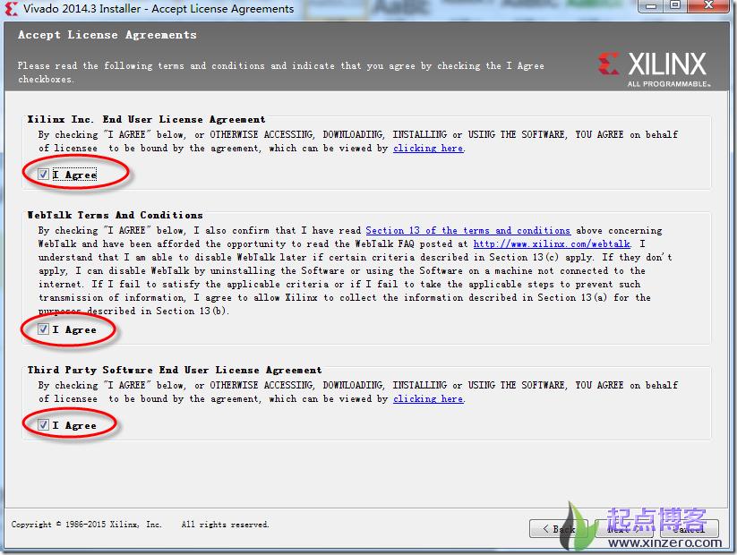 vivado 2014.3安装过程中许可同意