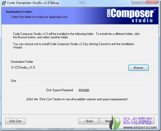 ccs3.3setup destination folder