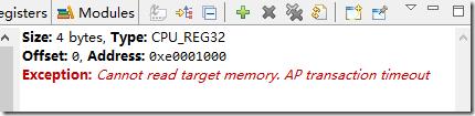 Cannot read target memory. AP transaction timeout