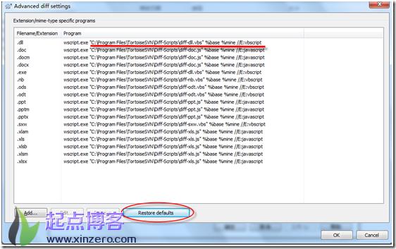 Win7 64bit下的svn diff如何直接比较word文档的不同