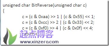 vc使用字节的bit反转(逆序)